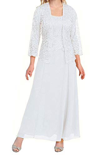 H.S.D Womens Lace Mother of The Bride Dress Formal Gowns with Bolero White