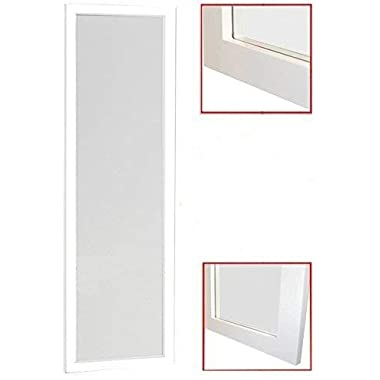 Organize City White Full Length Wall Mirror, Over the Door Mirror Wall Rectangular with Installation and Instructions Included – 14'' x 48''