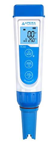 Apera Instruments EC60 Premium Leitfähigkeits-Messgerät (±1% Genauigkeit, EC/TDS/Salzgehalt Messung, austauschbare BPB-Elektrode, wasserfest, Temperaturanzeige)