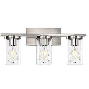 Bathroom Vanity Light, 3-Light Brushed Nickel Metal Wall Lighting Fixtures for Bathroom Lighting (Brushed Nickel, 3-Light)
