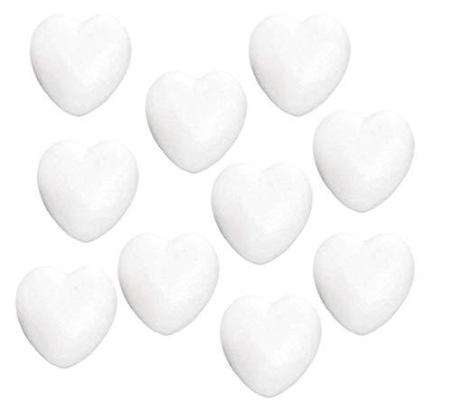 STOBOK Styropor Herz Styroporbälle für DIY Handwerk Filzen Basteln Heimwerk Weihnachten Deko 6cm 10 Stück (Weiß)