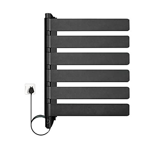 FLAMY Secador de Toallas,3/6 Brazo,toallero Giratorio,Calentadores de Toallas eléctricos enchufables montados en la Pared para baño,toalleros Calientes,40W/80W,Blanco,Negro