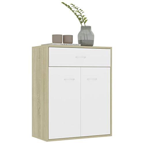 Anrichte mit 2 Türen und 1 Schublade 60 x 30 x 75 cm Bürokommode, niedrige Kommode aus Spanplatte, Servierschrank, zur Aufbewahrung von Büchern, Multimedia-Geräten, Weiß und Sonoma Eiche