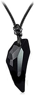 Personality Wolf Tooth Design Black Crystal Pendant Necklace for Men & Women