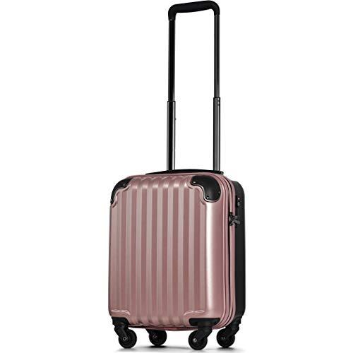 スーツケース 機内持込 300円コインロッカー 軽量 8輪 ダブルキャスター TSAロック ss s 小型 ハードキャリー ファスナータイプ キャリーバッグ キャリーケース (SSサイズ(100席未満 機内持込24L), ローズゴールド)