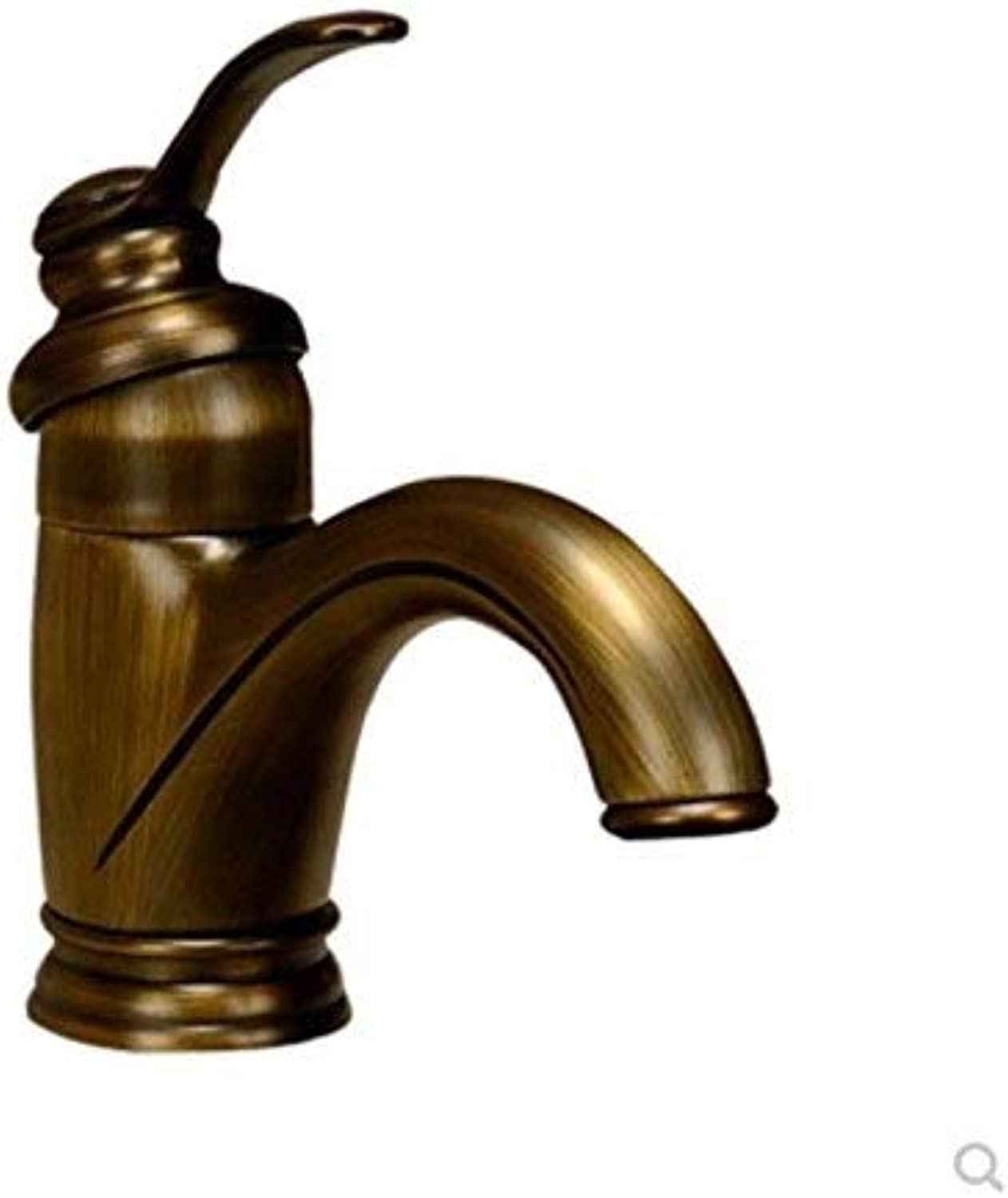 Oudan European Classical Antique Faucet Basin Faucet Hot and Cold All Copper Single Single Hole Ceramic Disc Spool with Hose (color   -, Size   -)