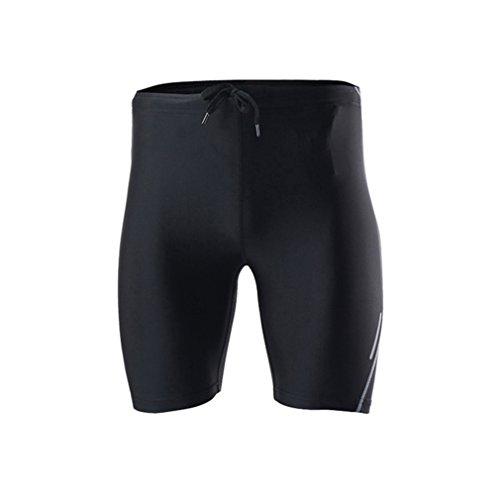 emansmoer Homme Compression Tights Leggings Base Layer Pantalons Courts Respirante Outdoor Sport Course à Pied Fitness Short (XX-Large, Noir)