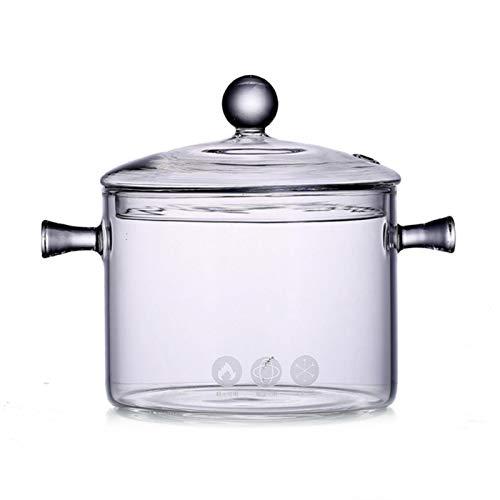 feiledi Trade Glas Kochtopf, mit doppeltem Griff und Deckel, Beheizbare Klar Stockpot, Glaskeramikherd Heizung Glasschüssel, für Küchentisch, Kühlschrank, Geschirrspüler und Mikrowelle (A)