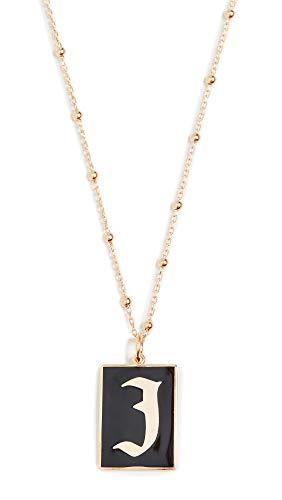 Maison Irem Women's Gothic Initial Necklace, J, Gold, Black, One Size