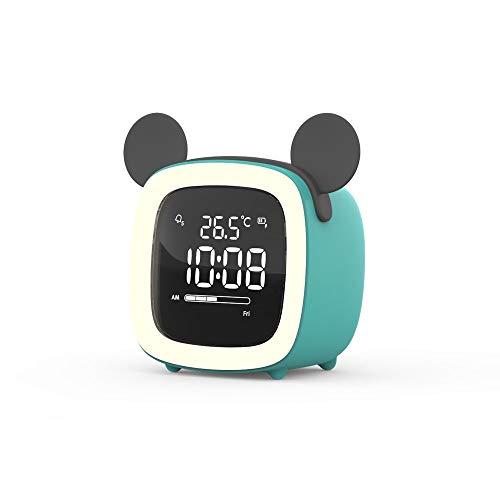 Qaaqiy Silencio Estudiante de noche despertador creativo principal personalizada de reloj digital luminoso niños de la lámpara con el sueño Función Snooze electrónica inteligente recargable de despert