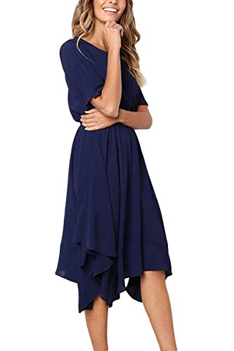 Alaster Queen Women's Chiffon Short Sleeve Casual Midi Dress Empire...