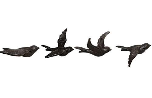 Unbekannt Wandvögel 4tlg. Gußeisen Wandschmuck Dekoration Garten Vogel Wandbild
