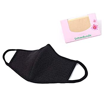Made in Korea Unisex Kpop Mask 3D Black Neoprene Cotton Mask BTS EXO Mask with SoltreeBundle Oil Blotting Paper 50pcs