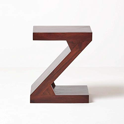 HOMESCAPES Dark Wood Z Shaped Side Table or End Table Handcrafted 100% Solid Mango Wood Furniture (No Veneer)