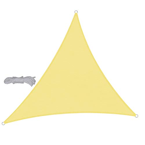 WXZX Vela De Sombra Protección Rayos UV Triangular 3,6x3,6x3,6 M Amarillo, Pergolas De Jardin con Ojales, Lona Impermeable Exterior, Muchos Colores Y Tamaños, Proteccion De La Privacidad