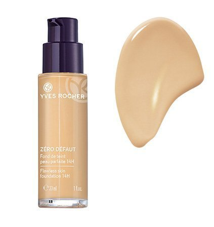 Yves Rocher COULEURS NATURE Make-up-Fluid PERFEKTE HAUT 14h Beige teint très clair, deckende Foundation, 1 x Glas Pump-Flacon 30 ml