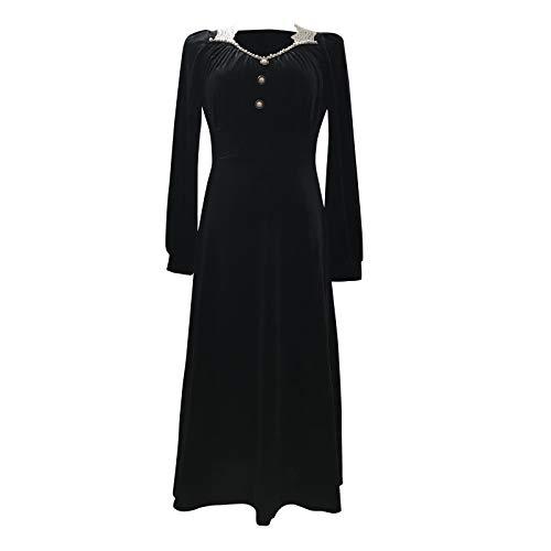 KI-8jcuD Vestido de terciopelo para mujer, suelto, vintage, de encaje, monocolor, de manga larga, midi, fino, para fiestas, cócteles