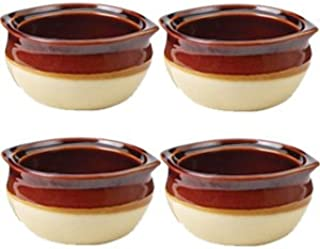 Porcelain Ceramic Onion Soup Crock Bowl, Small 10 Ounce, Set of 4, Brown and Beige