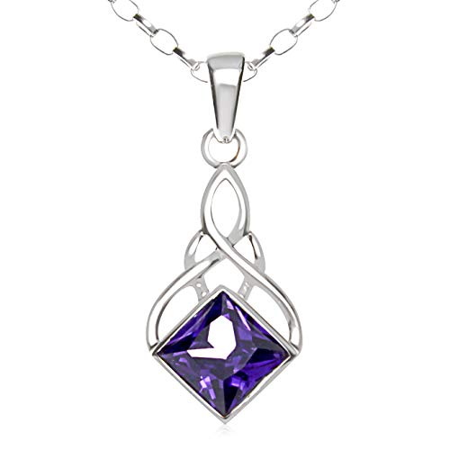 Alexander Castle Sterling Silver and Amethyst Celtic Pendant Necklace with 18' Chain and gift box. Great woman's gift for Christmas or Birthday's