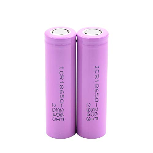 yfkjh 3.7V ICR 18650-26F 2600mAh Li-ion Baterías, baterías de litio recargables rosadas protegieron la batería plana del PWB 2pcs