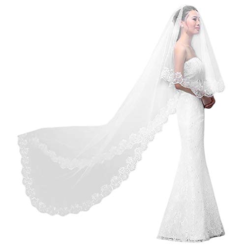 Visillo de novia blanco marfil de 3 metros largo de encaje con...
