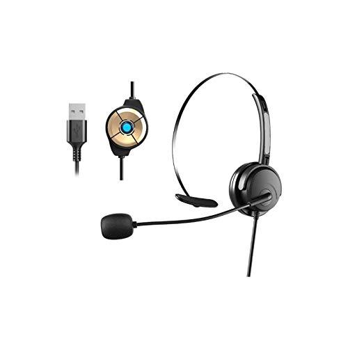 Auriculares USB Mono con Micrófono con Cancelación de Ruido y Controles en Línea, PC Cascos Business UC para Skype, Softphone, Centros de Llamadas