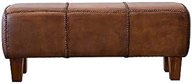 ASHCROFT Mid-Century Modern Serena Espresso Brown Genuine Leather Bench