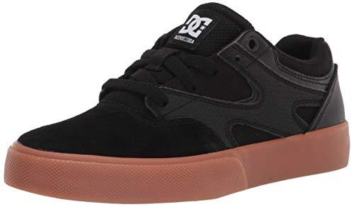 DC Boy's Kalis Vulc Skate Shoe, Black/Gum, 1 Little Kid
