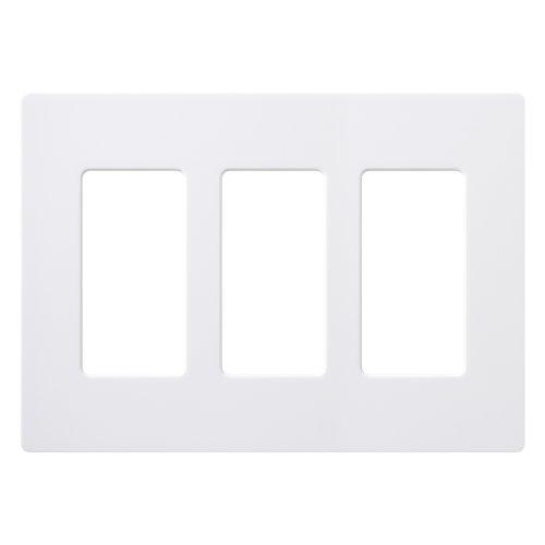 Lutron Claro 3 Gang Decorator Wallplate, CW-3-WH, White