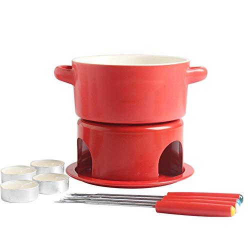 LGR Keramik-Käse-Fondue-Set, Schokoladenschmelzofen mit 4 Gabeln, Haushaltsalkohol-Feuerkessel, Rot