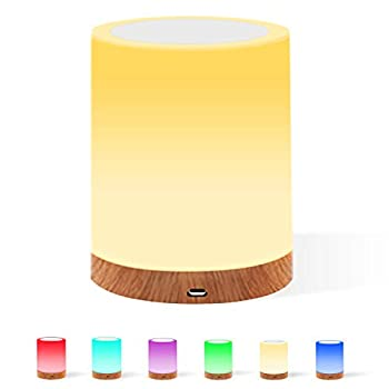 SHINESTAR Night Light Touch Lamp RGB Color Changing Light Dimmable Warm White Nursery Lights Portable Cordless Table Lamps for Nursery Kids Babies Bedroom