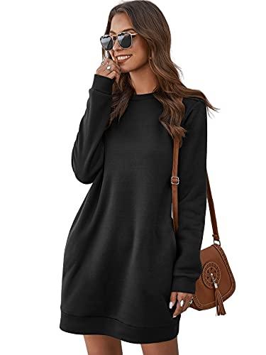 DIDK Damen Hoodie Kleid Pullover Langarm Sweatshirtkleid Tops Herbst Kurz Kleid Sweatshirt Pulloverkleid mit Taschen Schwarz XXL