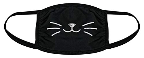 Cat Whiskers Face Mask Funny Pet Kitty Lover Novelty Nose and Mouth Covering (Black) - 1 Pack