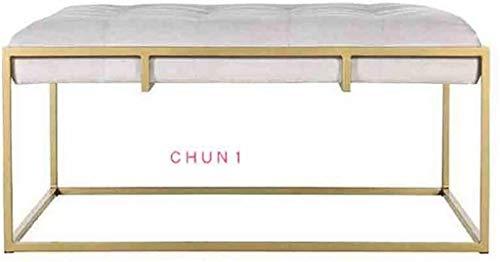 Banco de entrada de zapatos, marco de hierro forjado pintado de oro tienda de ropa Sofá heces dormitorio Vestir heces 108 (Size : 100cm)