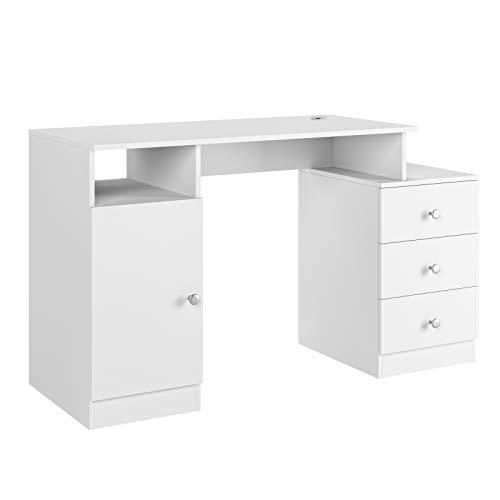 Homfa Schreibtisch Computertisch mit 3 Schubladen und 1 Unterschrank, Bürotisch Arbeitstisch aus Holz, PC Tisch mit Kabeldurchführung fürs Büro Arbeitszimmer weiß matt 133x50x75.5cm