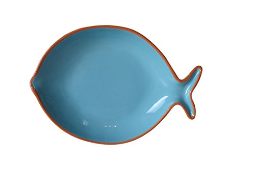"Euro Ceramica Pescador Collection 12.2"" Terra Cotta Fish-Shaped Platter, Turquoise"