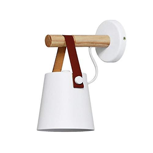 JuneJour Holzwand Lampen, LED Wandleuchte Holz Wandleuchte Bett Nachttischlampe Nachtlichter Modern Nordic Lampenschirm Wohnkultur für Wohnzimmer Schlafzimmer