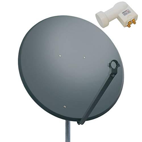 PremiumX 100cm Satellitenschüssel Stahl Anthrazit Satellitenantenne SAT Anlage Quad LNB 8 F-Stecker 4 Teilnehmer