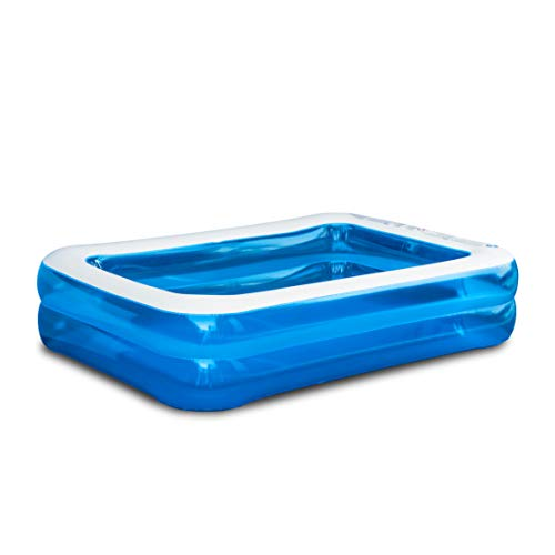 Hello Summer Sable Rectangular Inflatable Family Paddling Swimming Pool Indoor & Outdoor for Kids and Adults, 200 x 150 x 50cm, Blue & White
