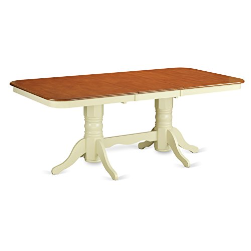 East West Furniture NAT-WHI-TP Rectangular Round Corner Dining Table