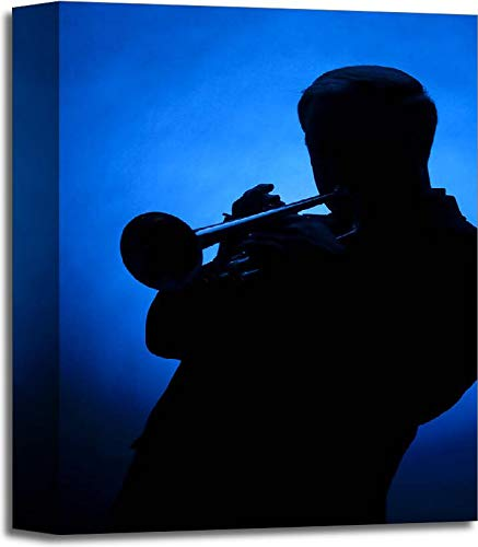 Trumpet Player Silhouette Against Blue Spot Light Gallery Wrapped Canvas Art (14in. x 11in.)