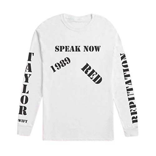 Taylor Swift Kleidung Speak Now Langarm-T-Shirt mit Rundhalsausschnitt White-S