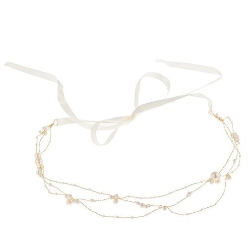 P Prettyia Vintage Haarband Haarkette Haarschmuck mit Perlen Dekoration, geeignet für Braut zum Hochzeit - Gold