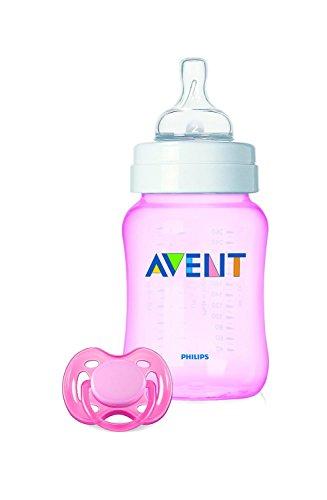 Philips Avent SCD783/18 - Set regalo Classic+ de inicio para recién nacidos, con biberón de 260 ml y chupete, 0 a 6 meses, anticólico, color rosa