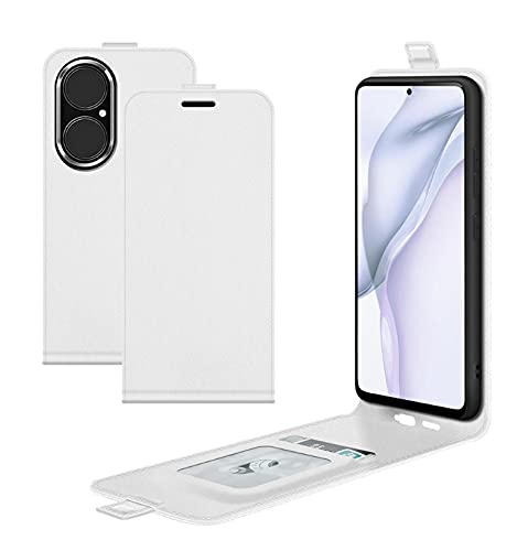 LONGSAND Cáscara del teléfono de Cuero Compatible con Huawei P50 / P50 PRIP Flip PU Funda Protectora a Prueba de Golpes Suave con Ranuras para Hombres para Mujer,Blanco,P50 Pro