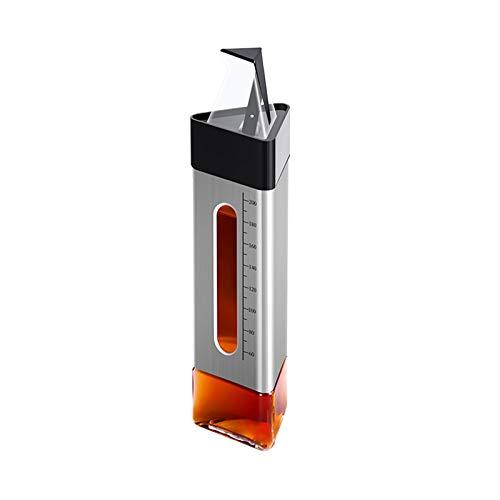 Botella de aceite italiana de vidrio a prueba de fugas de acero inoxidable para cocina, contenedor de condimentos a prueba de fugas con tapa automática y tapón, boquilla antigoteo