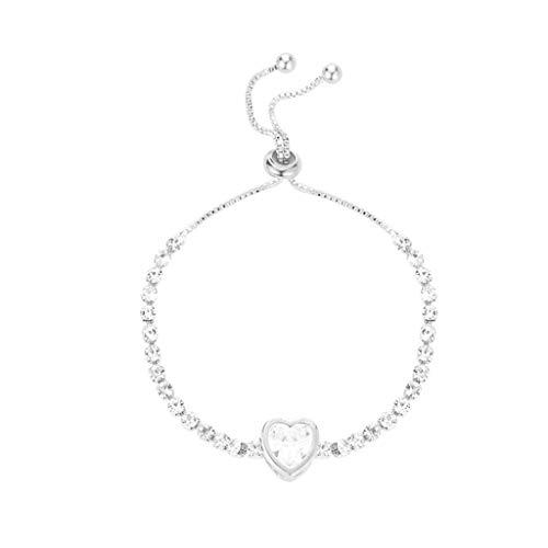 Mingfa Damen Mädchen Kristall Armband Armreif Edelstahl Armreif Valentinstag Hochzeit Brautschmuck Gr. Einheitsgröße, B
