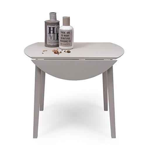Mesa de Comedor o Cocina Redonda Extensible Dallas de 90 cm de diámetro (17,5/55 / 17,5 cm) Madera lacada Color Gris