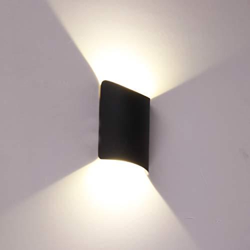 Topmo-plus Iluminación pared dentro Focos pared interior/exterior aluminio / 14W LED bridgelux COB Lámpara pared para comedor, estudio, escaleras y pasillos, cabecera, corredor / 22 cm negro / 4000K