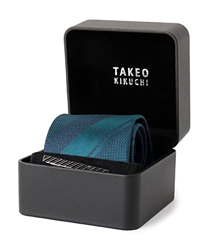 [ タケオキクチ ] ネクタイ ネクタイピン 三段ストライプ柄ネクタイ BOXセット 07003185 メンズ グリーン(322) 00